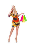 Young woman after shopping isolated Stock Photo