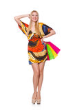 Young woman after shopping isolated Royalty Free Stock Image