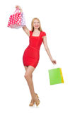 Young woman after shopping isolated Stock Photography