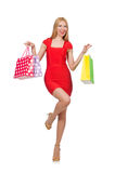 Young woman after shopping isolated Royalty Free Stock Photography