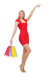 Young woman after shopping isolated Royalty Free Stock Photos
