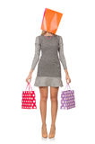 Young woman after shopping isolated Stock Photos