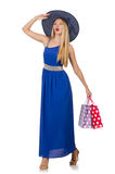 Young woman after shopping isolated Royalty Free Stock Photo