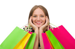 Young woman after shopping Royalty Free Stock Photos
