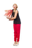 Young woman after shopping isolated on the white Royalty Free Stock Image