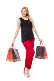 Young woman after shopping isolated on the white Royalty Free Stock Images