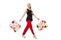 Young woman after shopping isolated on the white Stock Photography