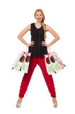 Young woman after shopping isolated on the white Stock Images