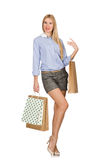The young woman after shopping isolated on the Stock Photos
