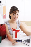 Young woman in shopping on-line. Happy shopping on-line of young woman with laptop on internet Stock Photography
