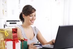 Young woman in shopping on-line Stock Photography