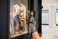 Young woman shopping in mall Stock Photo