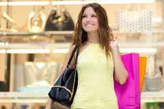 Young woman shopping in a mall Royalty Free Stock Image