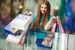 Young woman shopping in a mall Stock Photo