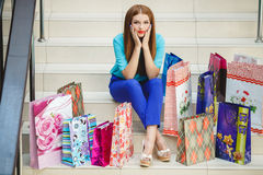 Young woman shopping in a mall Stock Image