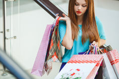 Young woman shopping in a mall Royalty Free Stock Photography