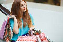 Young woman shopping in a mall Stock Photography