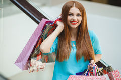 Young woman shopping in a mall Stock Photos