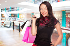 Young woman shopping in the mall Royalty Free Stock Images