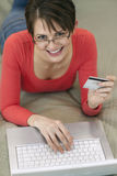 Young Woman Shopping Online Royalty Free Stock Photos