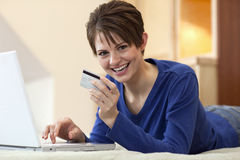 Young Woman Shopping Online Royalty Free Stock Photo