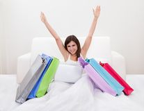 Young Woman Shopping Online Stock Image