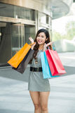 Young woman shopping outside the mall Royalty Free Stock Images