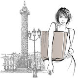 Young woman shopping in Paris. Vector illustration Stock Photos