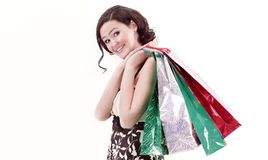 Young woman with shopping.photo with copy space