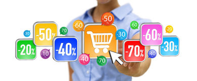 Young woman shopping during sales period. Businesswoman using modern application to shop online during sales Stock Image