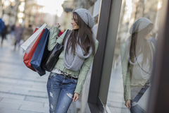 Young woman in shopping Stock Photography