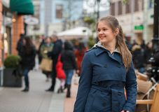 Young woman at shopping street Royalty Free Stock Photo