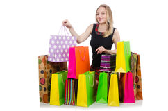 Young woman after shopping Royalty Free Stock Image