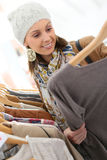 Young woman shopping on winter sales Royalty Free Stock Photo