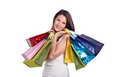 Young woman after shoppingtour Stock Photos