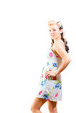Young Woman In Short Modest Dress Stock Images