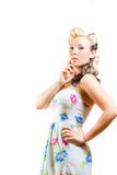 Young Woman In Short Modest Dress Stock Photos