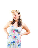 Young Woman In Short Modest Dress Stock Photo