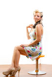 Young Woman In Short Modest Dress Royalty Free Stock Photos
