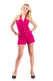 Young woman in short pink overalls Stock Images
