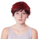 Young woman with short red hair Royalty Free Stock Photography