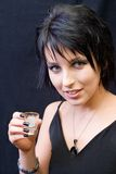 Young woman with shot glass Royalty Free Stock Photos