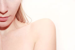 Young  woman shoulder on white background Stock Images