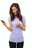 Young woman shout with her cellphone Royalty Free Stock Photo