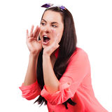 Young woman shout and scream using her hands as tube Stock Photos