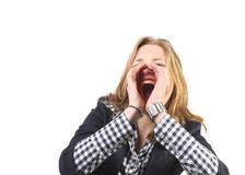 Young woman shouting Stock Photos