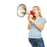 Young woman shouting with megaphone Royalty Free Stock Photo