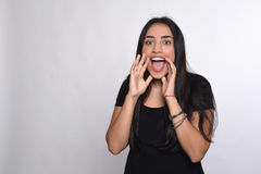Young woman shouting and screaming Stock Image