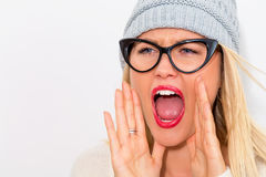 Young woman shouting Royalty Free Stock Photo