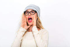 Young woman shouting Stock Image